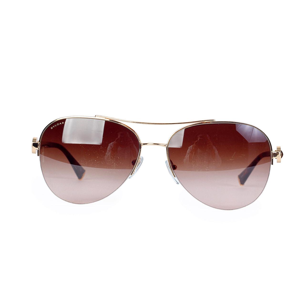 Bvlgari Sunglasses Gold Frame : BVLGARI Gold Plated Aviator Sunglasses 6068K - Luxity