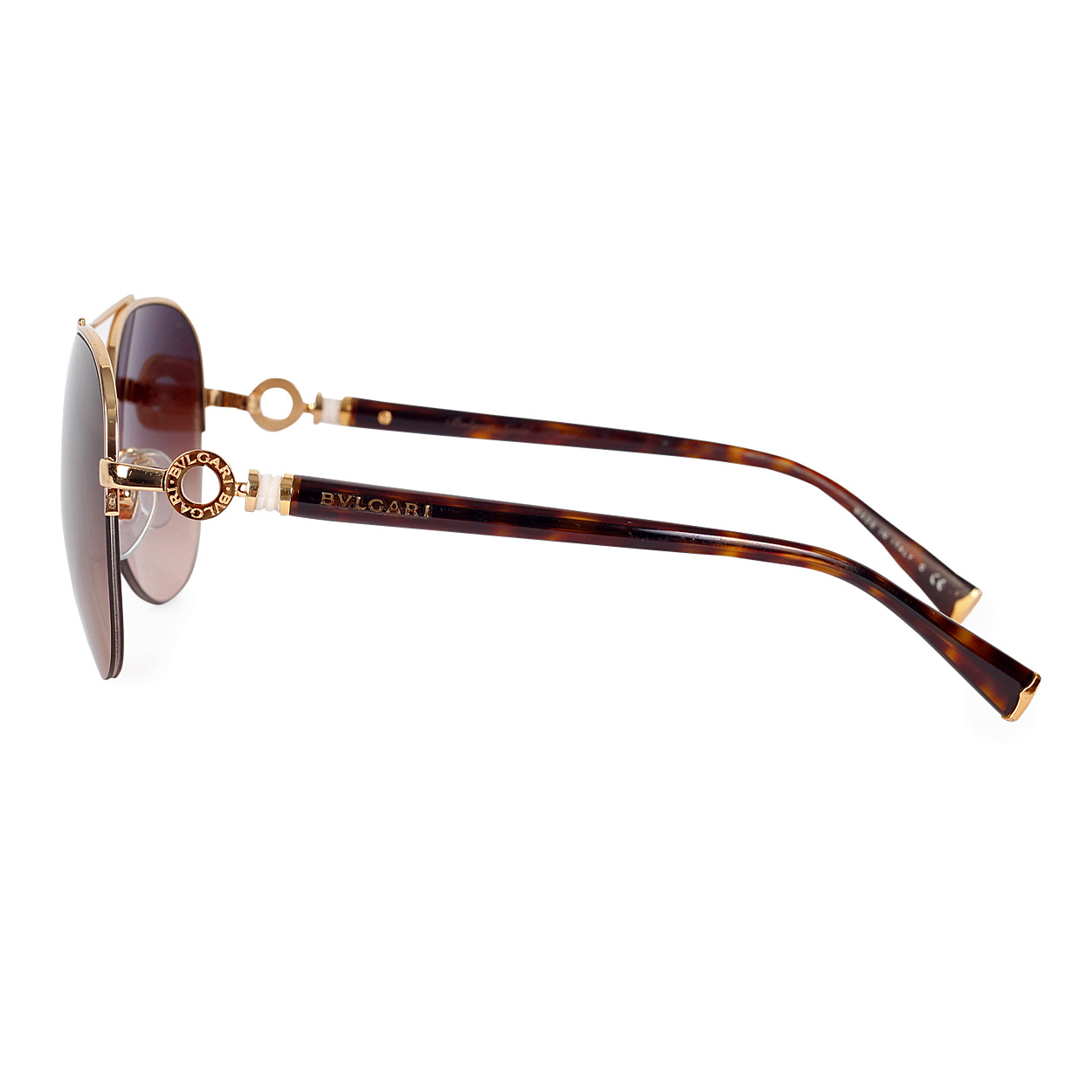 BVLGARI Gold Plated Aviator Sunglasses 6068K - Luxity
