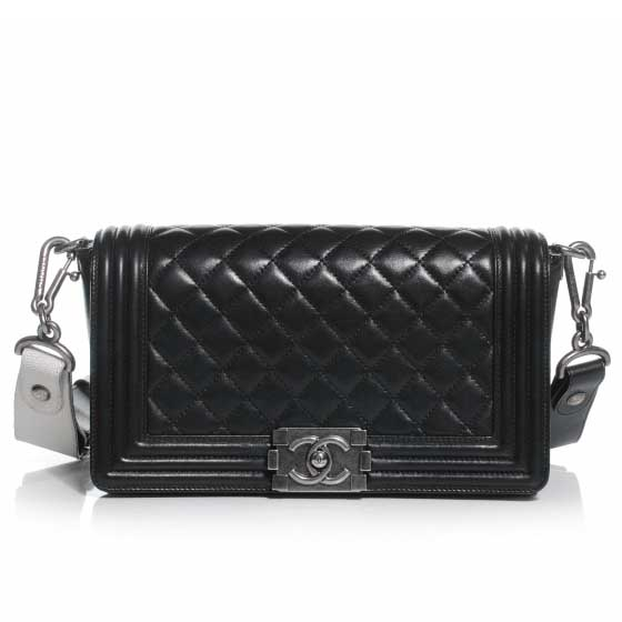 aa259644827 CHANEL Lambskin Quilted Medium Boy Flap w Stingray Shoulderstrap Black