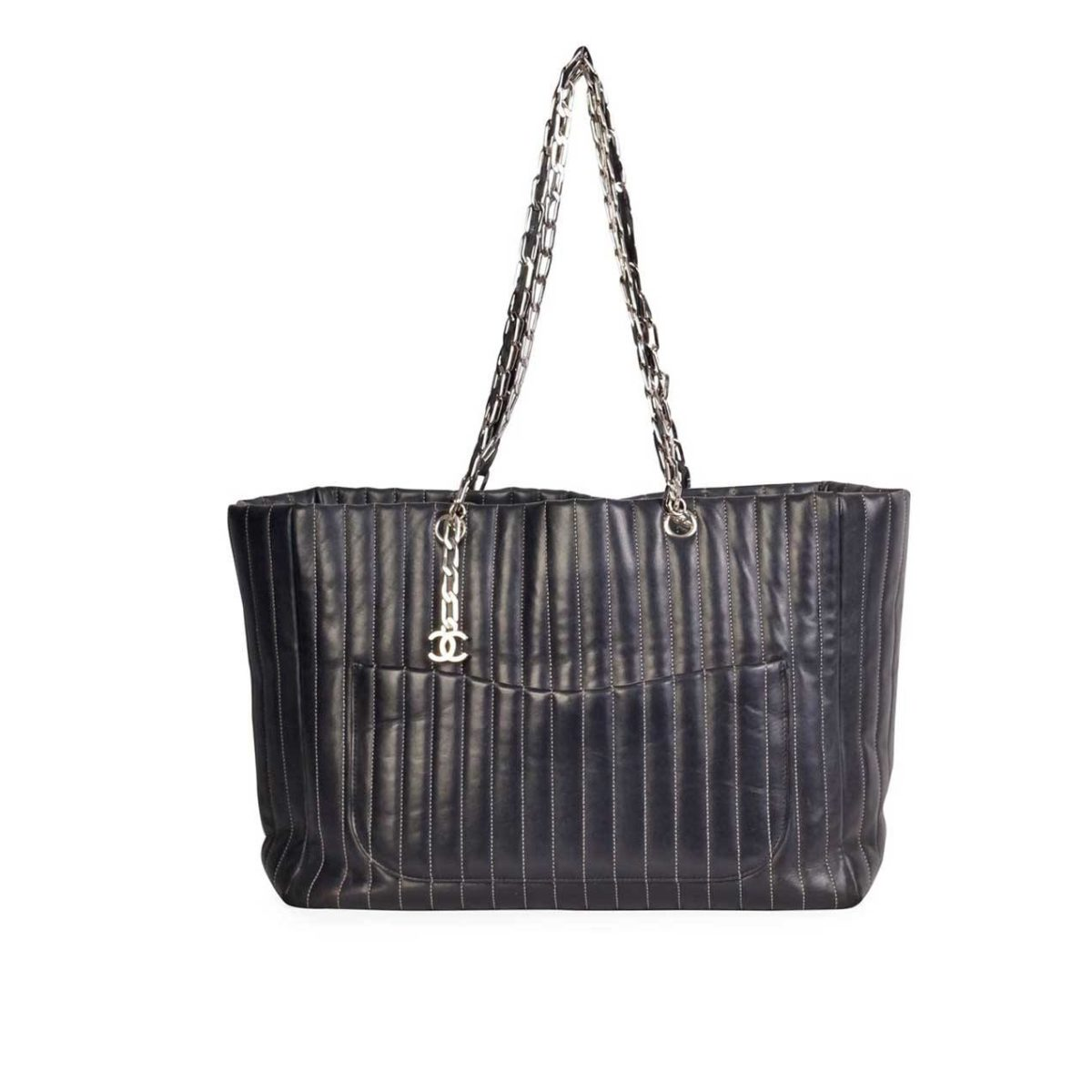 4129ab3d43bd CHANEL Vertical Quilted Mademoiselle Tote Large   Luxity