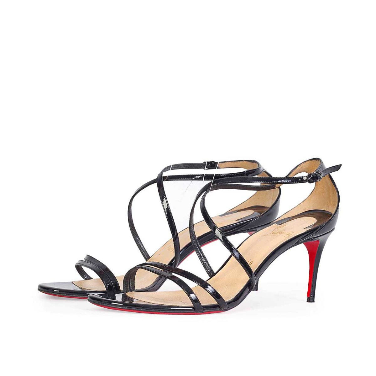 14784f049a8 CHRISTIAN LOUBOUTIN Patent Leather Gwynitta 100 Strappy Sandals - S ...