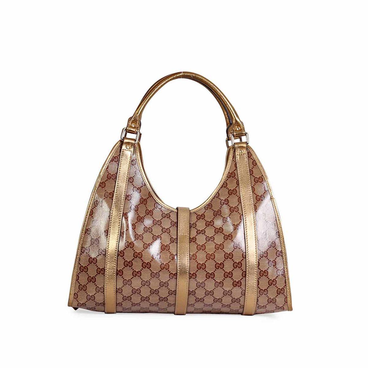 5a10bc955e4 GUCCI Gold Crystal GG Jackie O Shoulder Bag