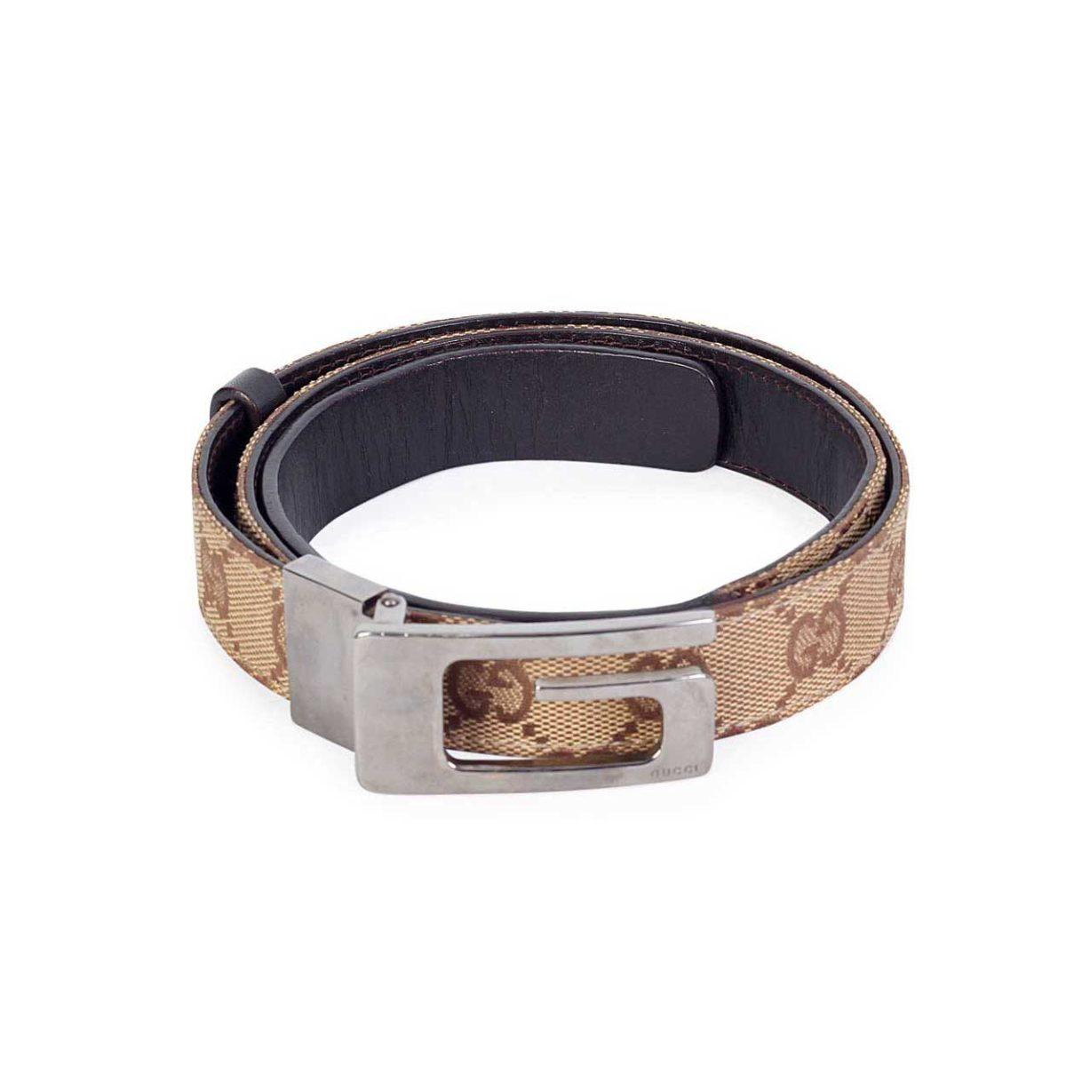 309fc63e65e GUCCI Slim GG Silver Buckle Belt