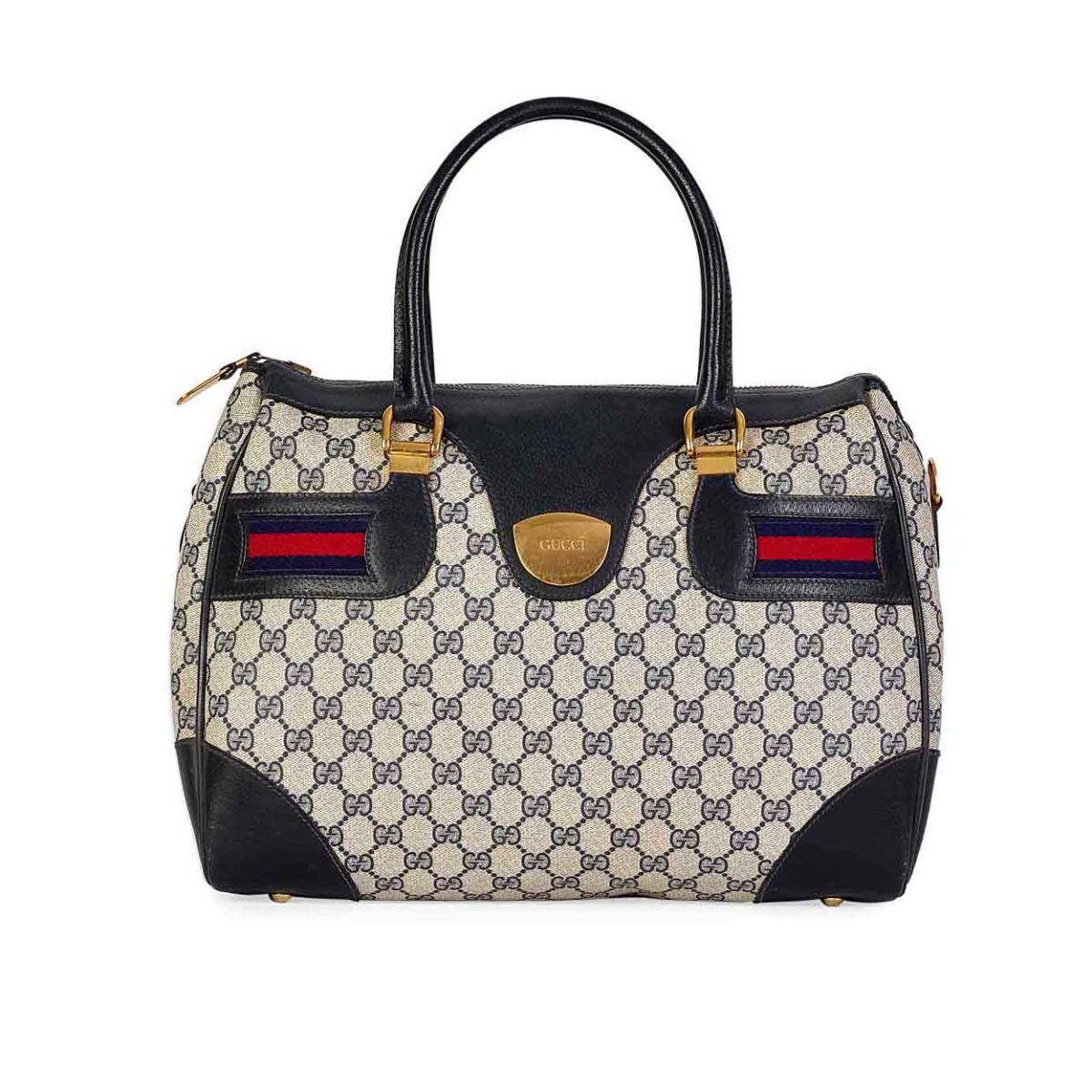 089daf2e502f GUCCI Vintage Blue GG Web Boston Bag