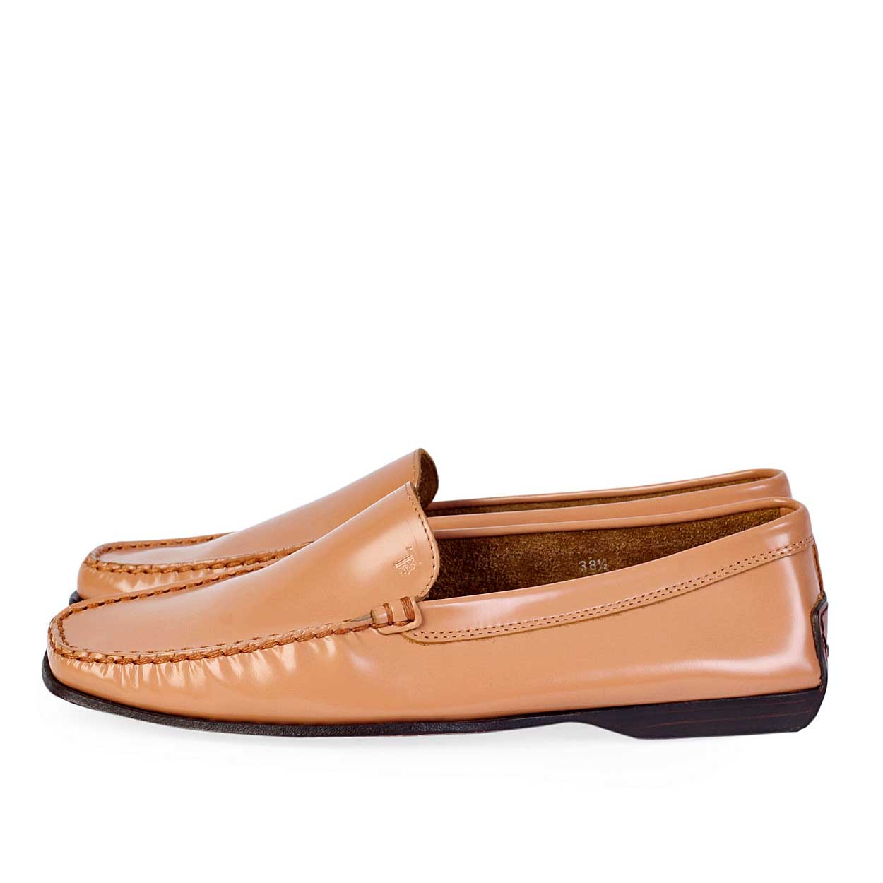 tods brown leather womens loafers s 38 5 5 5 luxity