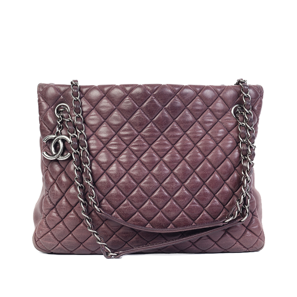 44273b8aa3d1 CHANEL Iridescent Calfskin New Bubble Quilt Small Tote Purple | Luxity