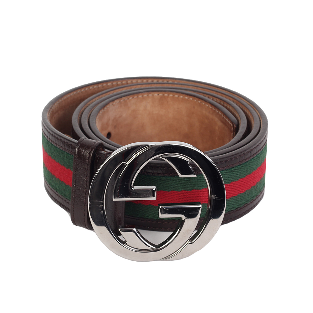 a33cce6a17f GUCCI Web Signature Mens Belt with G Buckle - S  100 (40)