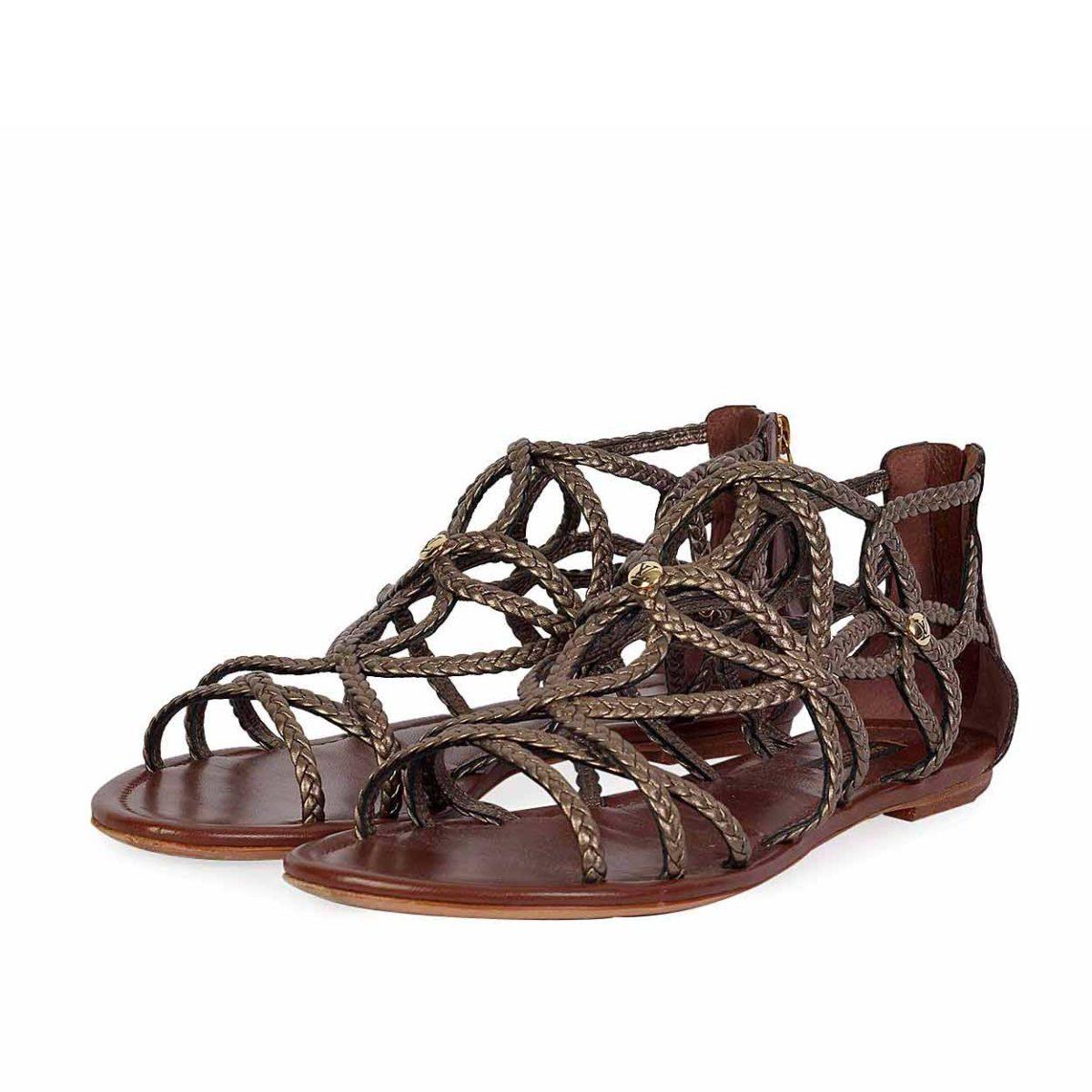 dab929de4 LOUIS VUITTON Bronze Gladiator Flat Sandals – S  38 (5)