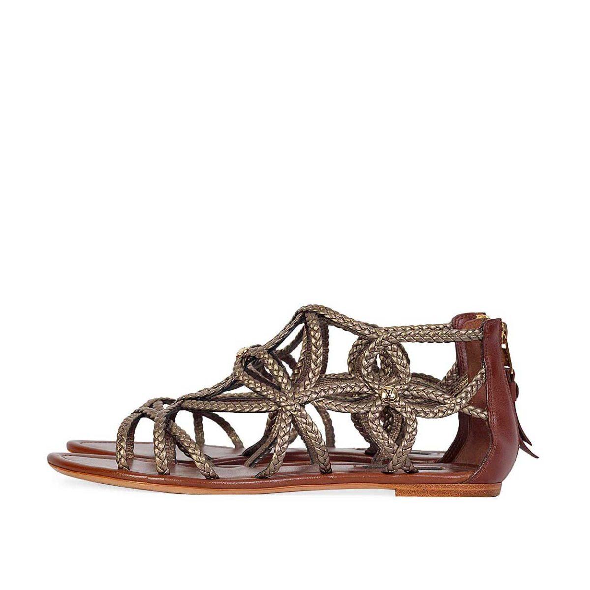 LOUIS VUITTON Bronze Gladiator Flat Sandals – S  38 (5)