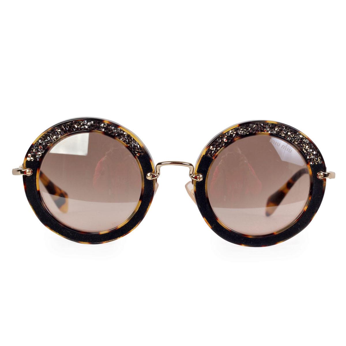 ce88fa8e4 MIU MIU Embellished Tortoise Shell Round Sunglasses SMU08R – NEW ...