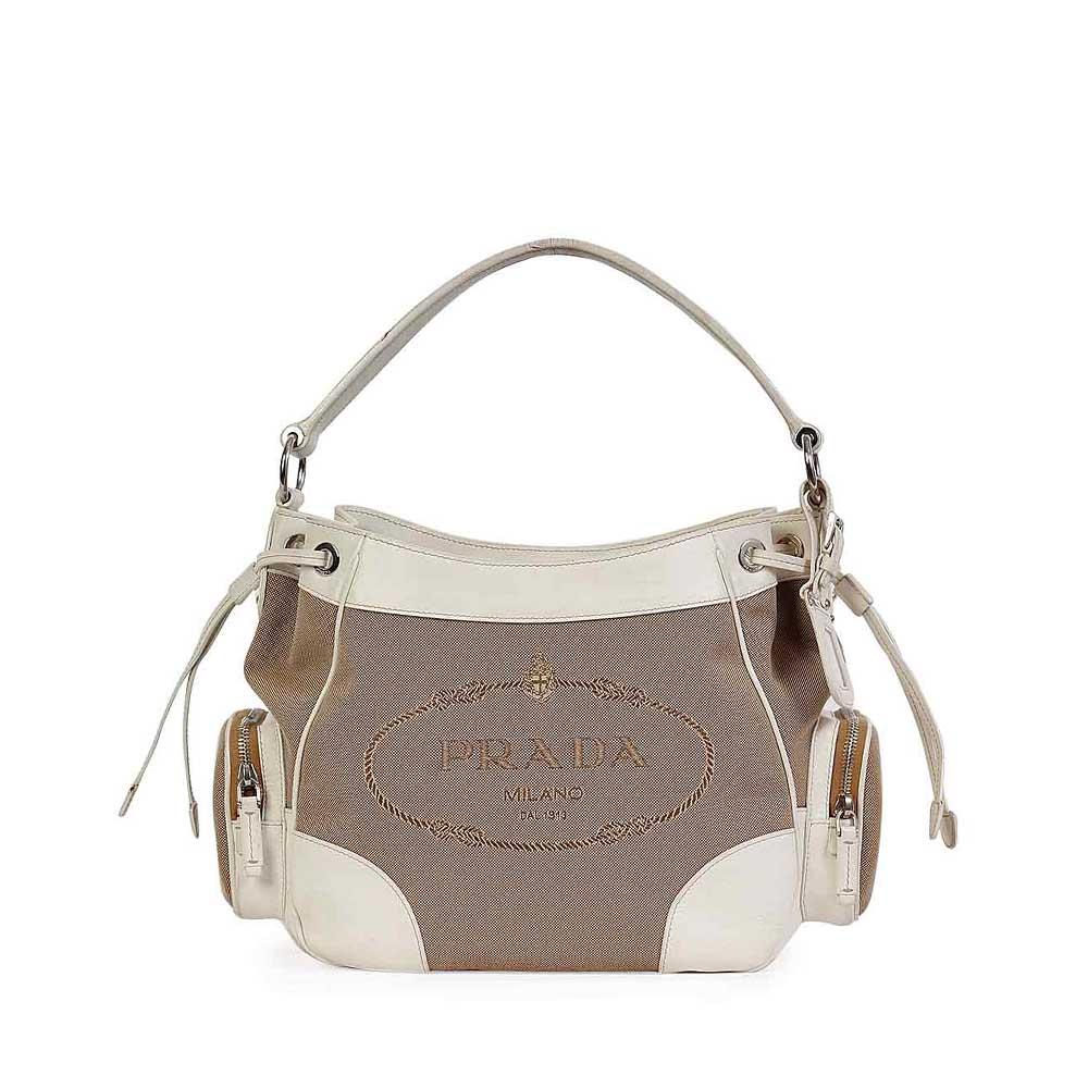 d7820030c354 PRADA Jacquard & White Leather Pocket Hobo | Luxity