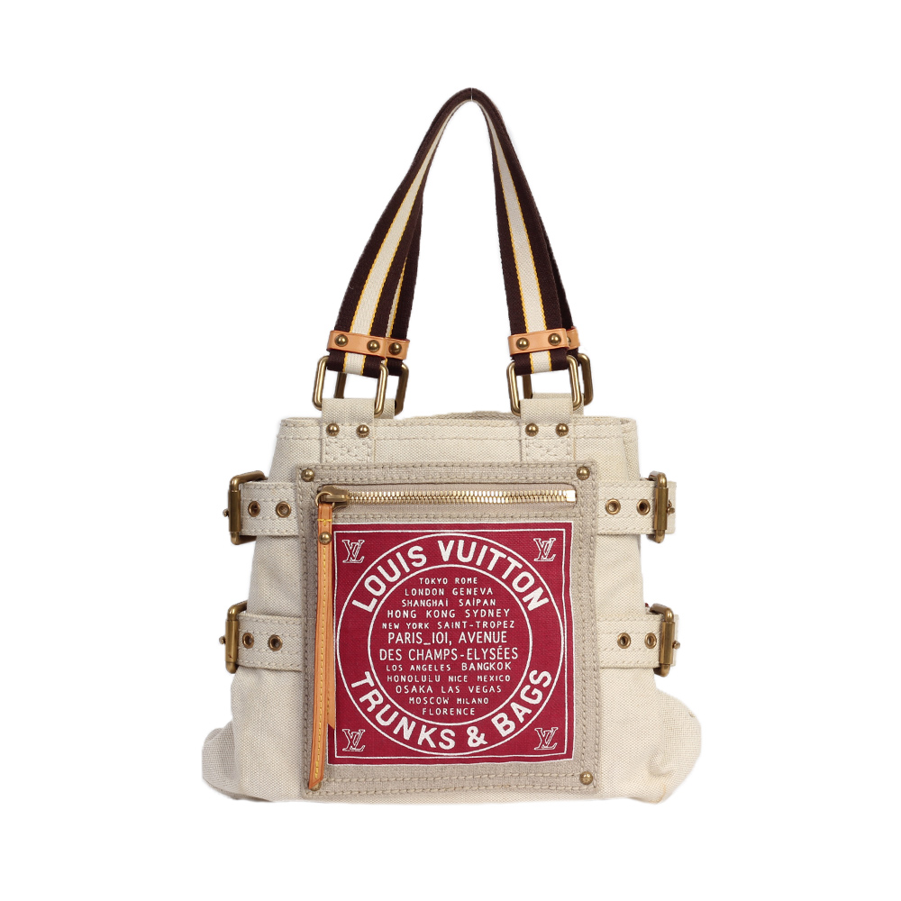 ad0ea99c29 LOUIS VUITTON Red Toile Globe Shopper Cabas PM - Limited Edition ...