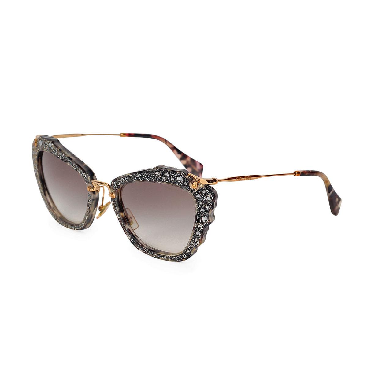 ec66b4d804c5 MIU MIU Embellished Cat Eye Sunglasses Blue