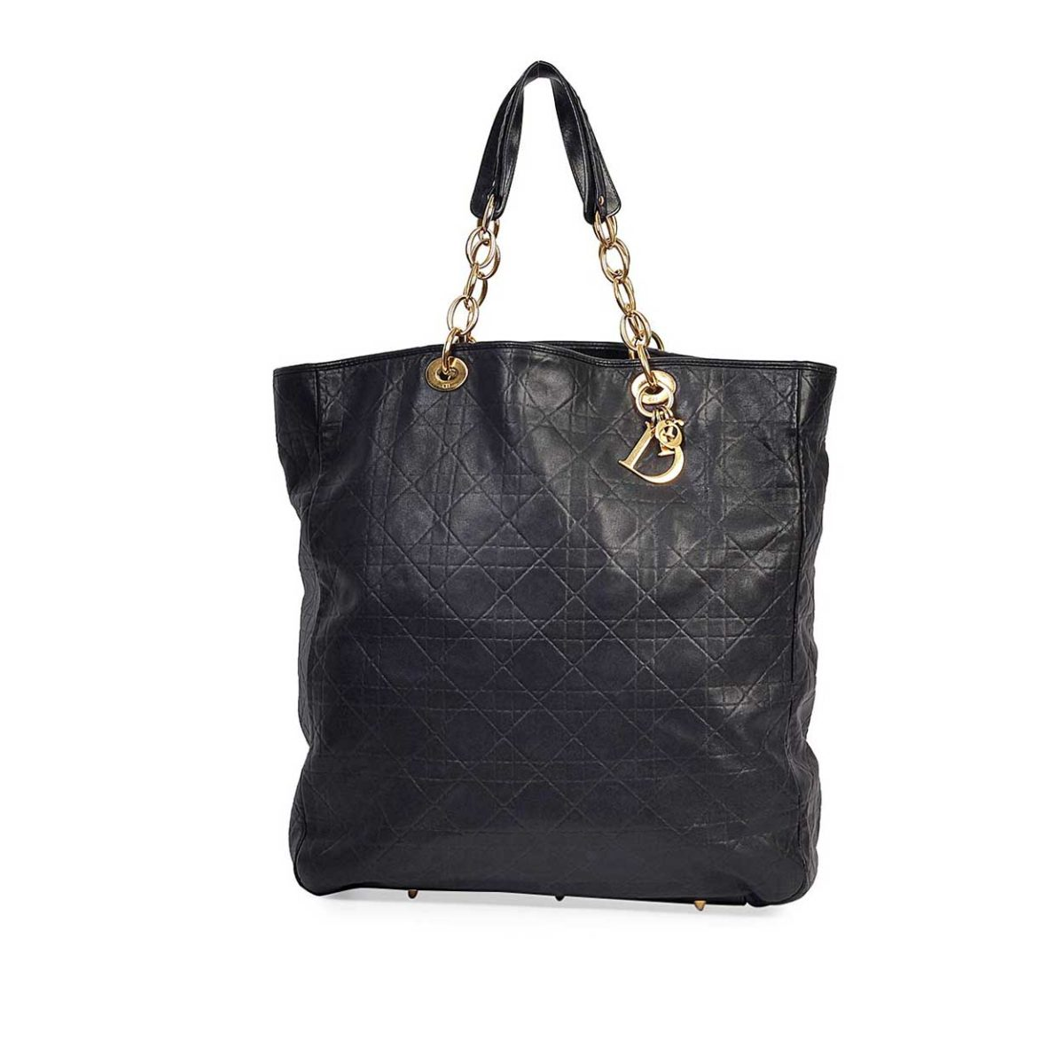 CHRISTIAN DIOR Cannage Quilted Lambskin Leather Soft Shopping Tote Bag Black 4a070e03aba0c