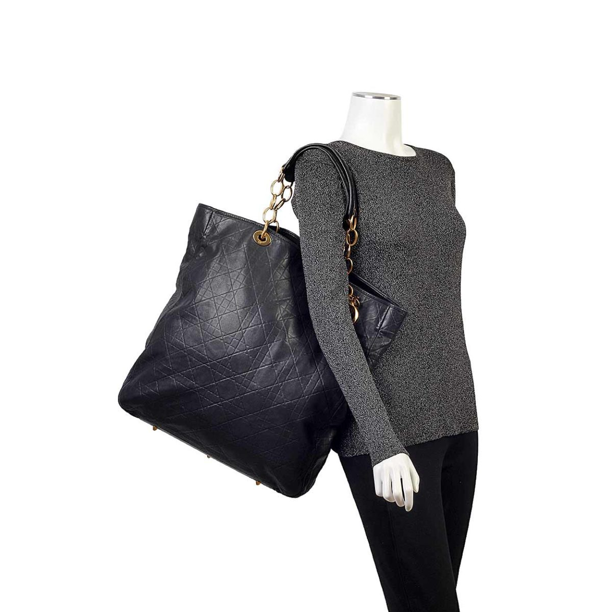 CHRISTIAN DIOR Cannage Quilted Lambskin Leather Soft Shopping Tote Bag Black 579f529f8d0a6