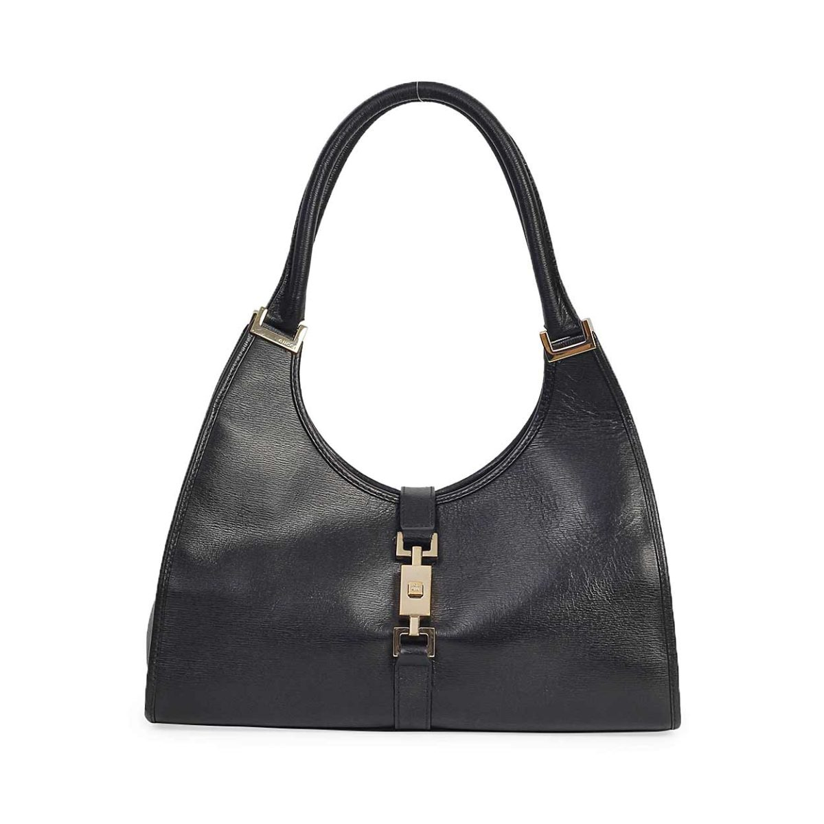 9c7fe39b GUCCI Vintage Leather Jackie O Bag Black | Luxity