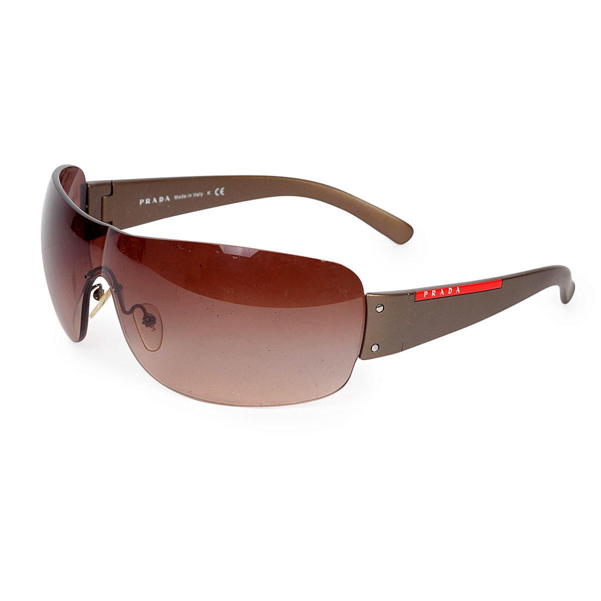 4dc7874f48 PRADA Brown Wide Frame Sunglasses SPS07F
