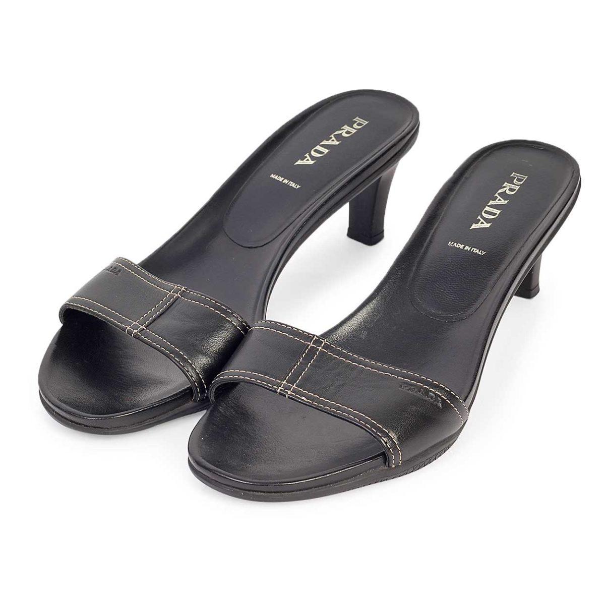 5e76eb2b741 PRADA Leather Kitten Heel Sandals Black - S  39 (6)