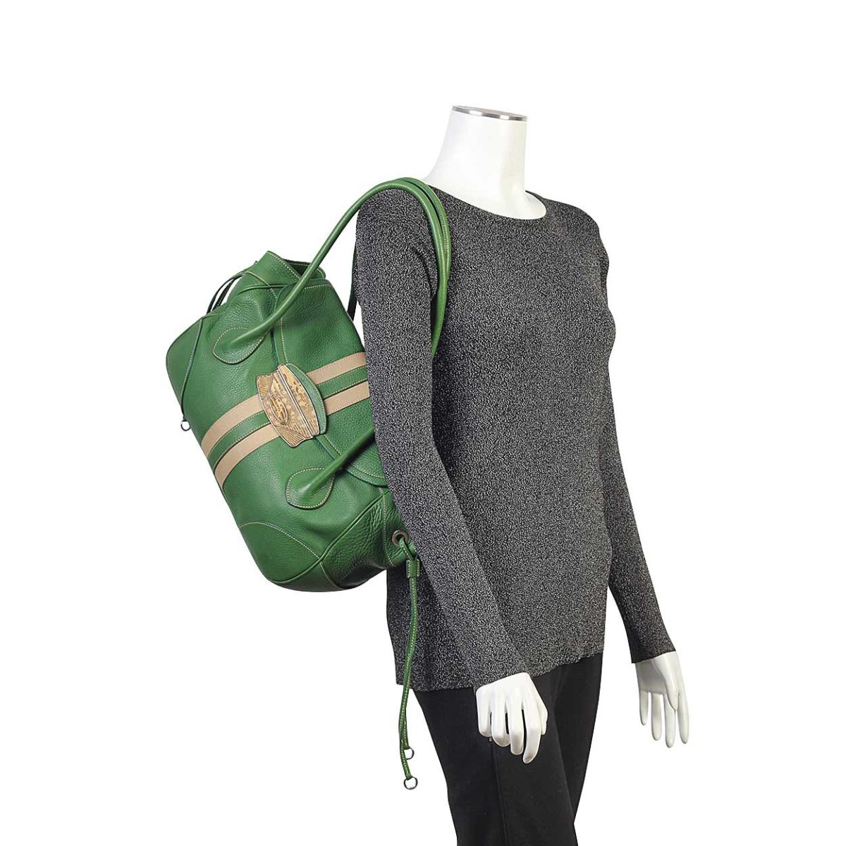 e38fe3d9e22b PRADA Leather Python Embellished Buckle Shoulder Bag Green | Luxity
