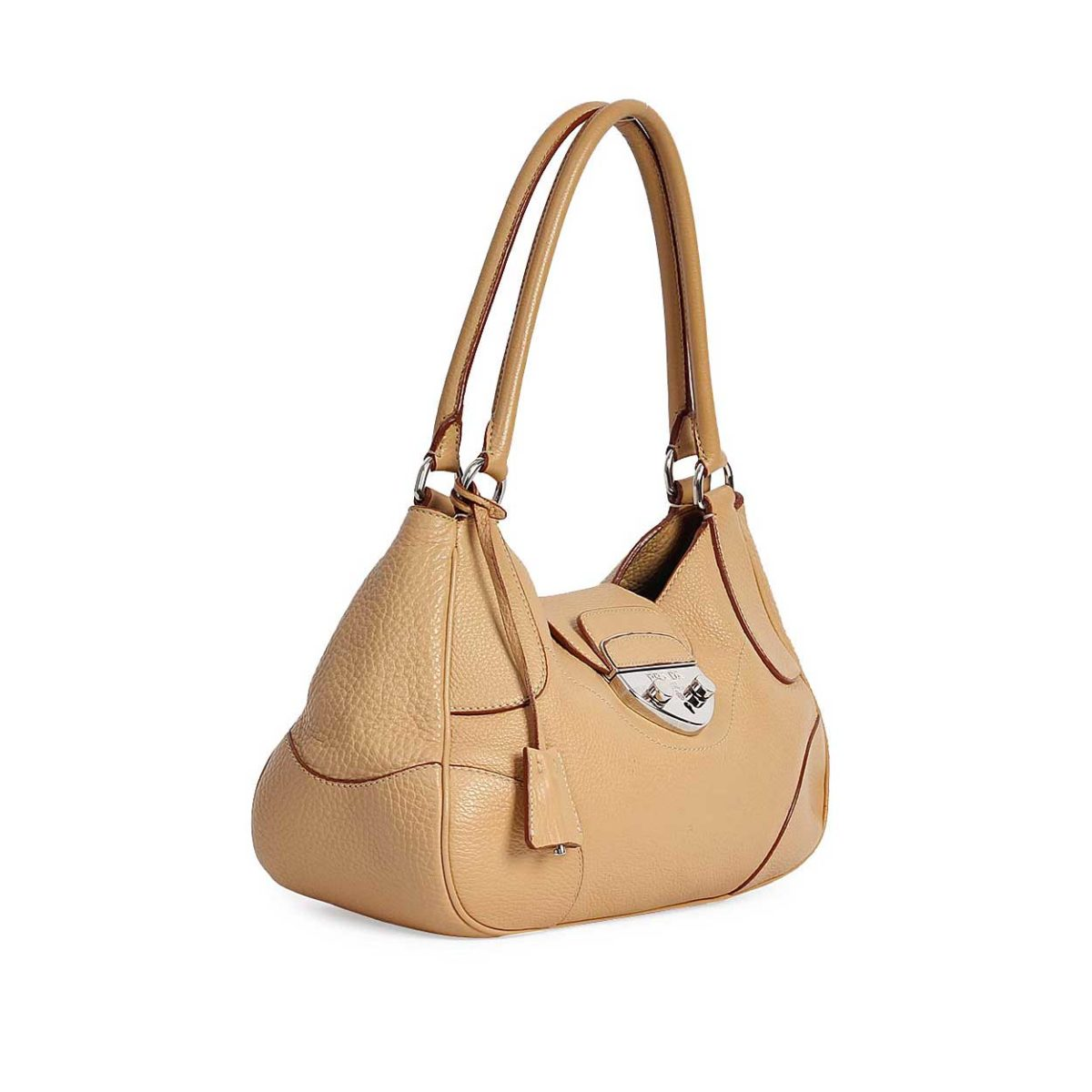 ba1d78b48c729d PRADA Rubino Vitello Daino Leather Shopping Tote Light Brown | Luxity