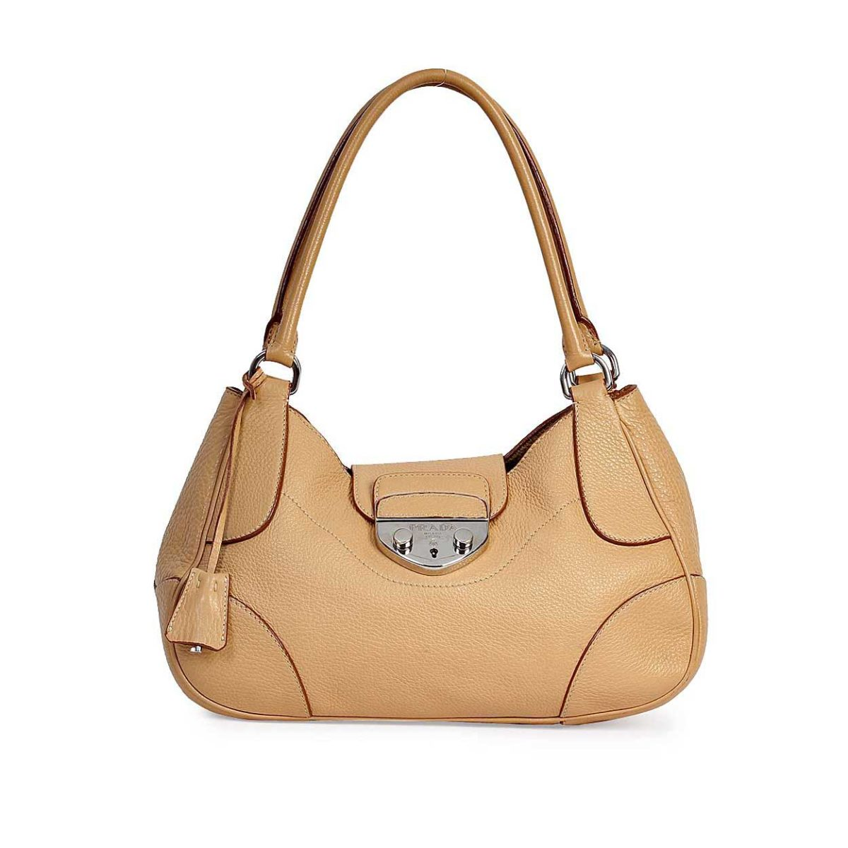 b28c38fb4f4a PRADA Rubino Vitello Daino Leather Shopping Tote Light Brown | Luxity