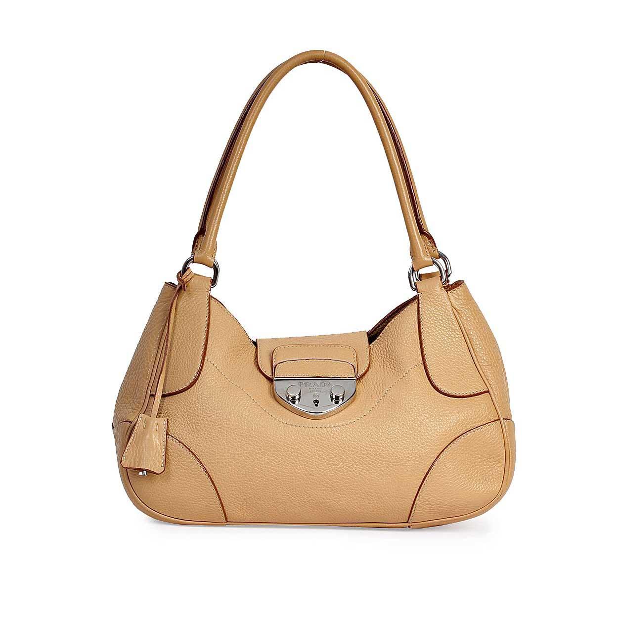 a55a99a4 PRADA Rubino Vitello Daino Leather Shopping Tote Light Brown