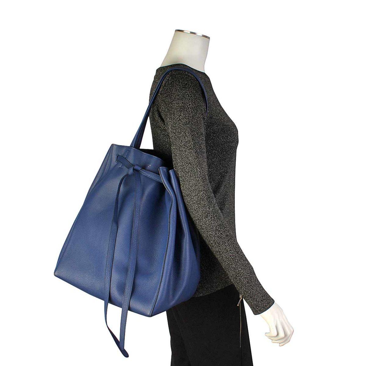 CELINE Leather Cabas Phantom Tote Blue  2fc9b4a2e5ead