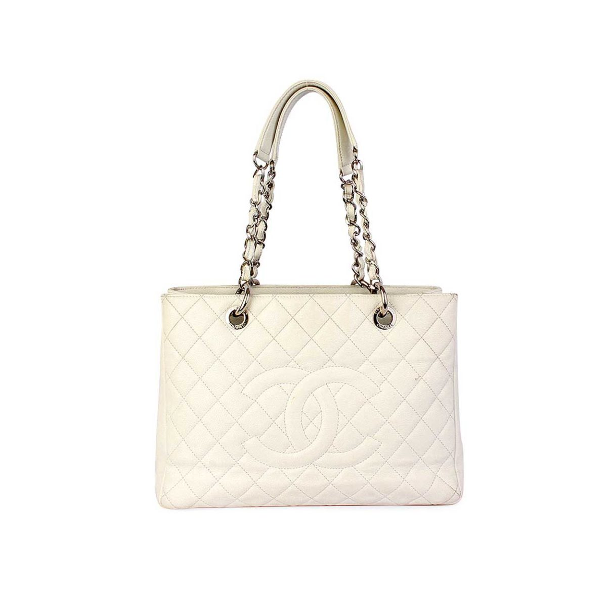 1a441a5b9ae8 CHANEL Quilted Leather Grand Shopping Tote White | Luxity