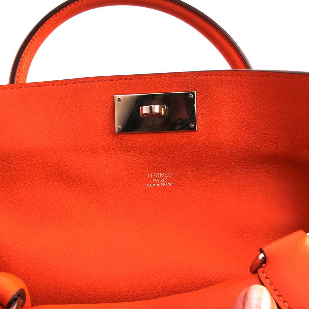 612d359b2af HERMES Swift Leather Toolbox Bag 26cm Orange- closeup2   Luxity