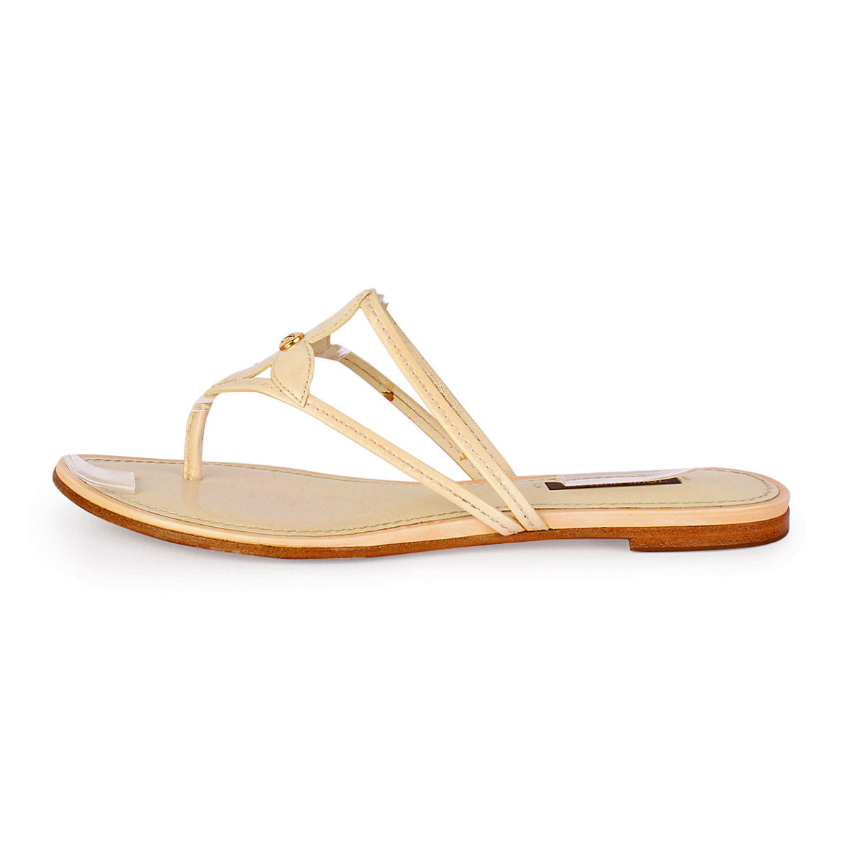9b340a7b1 LOUIS VUITTON Patent Flower Thong Sandals Cream - S  36.5 (3.5-4 ...