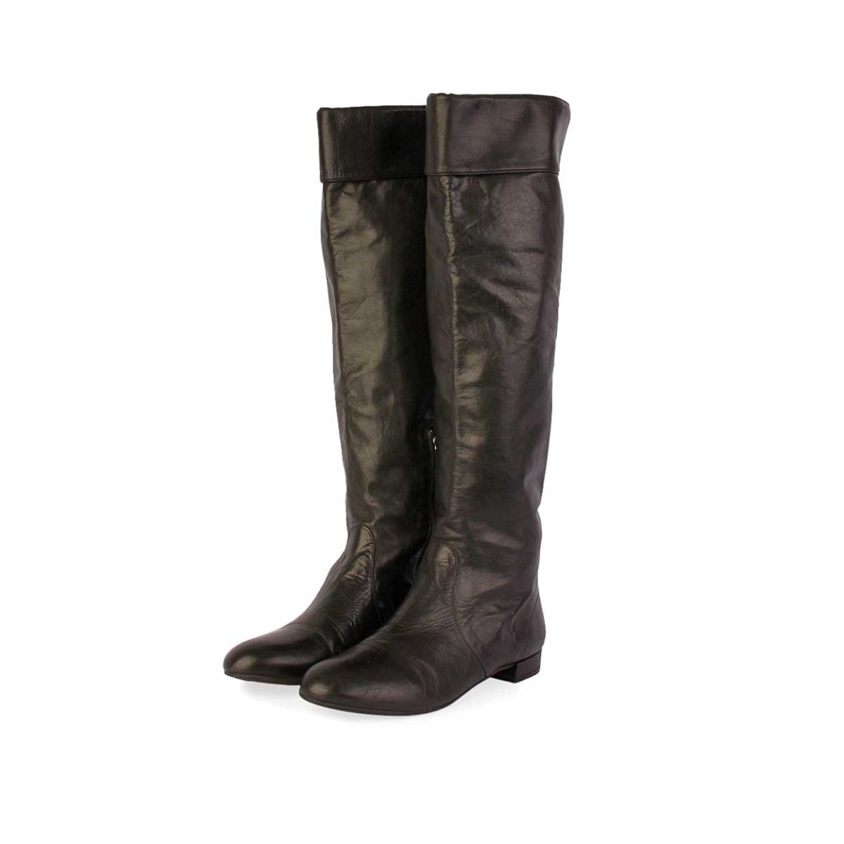 adc167248 PRADA Leather Knee High Boots Black - S: 35.5 (3) | Luxity