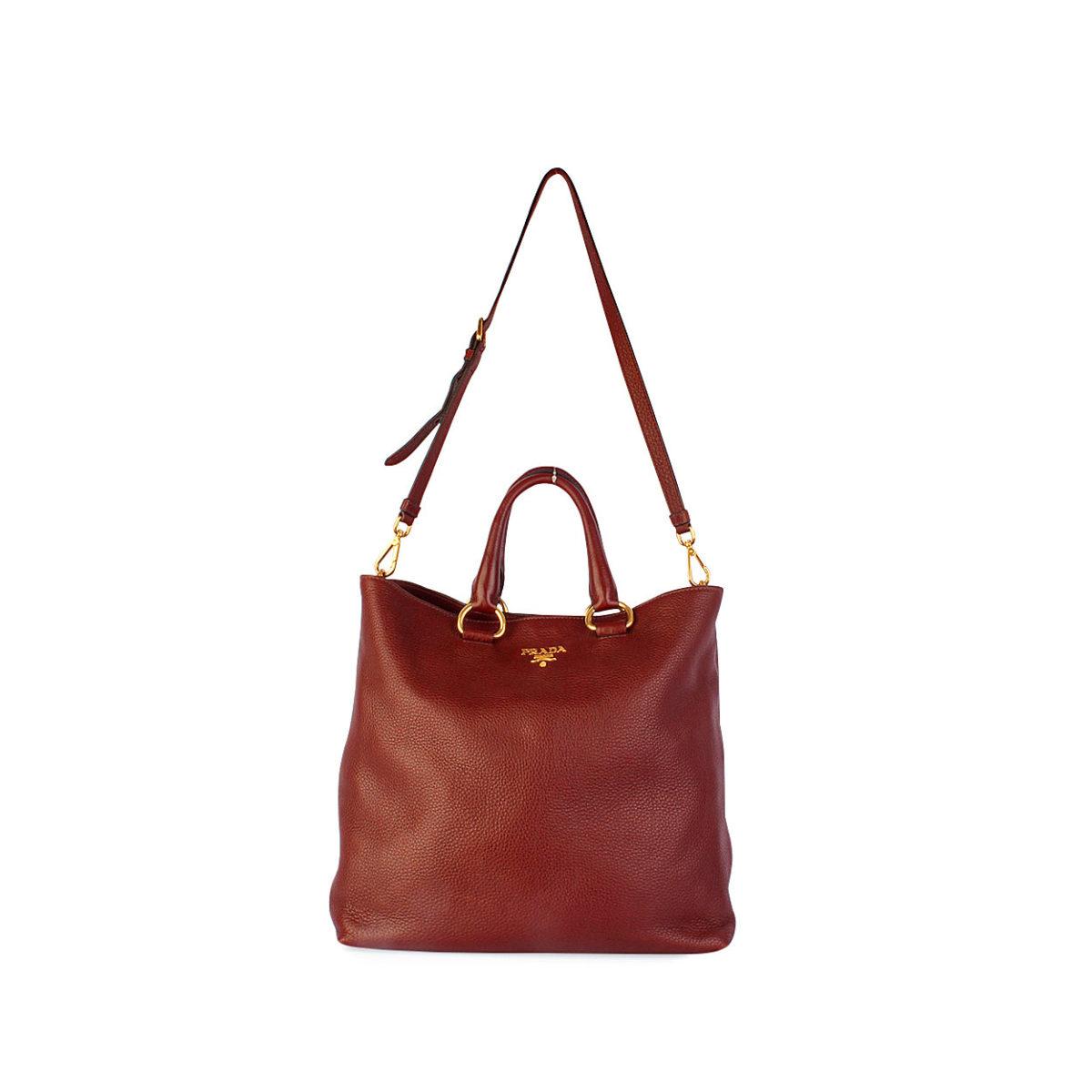 f5b1cd084c4c PRADA Rubino Vitello Daino Leather Shopping Tote Brown