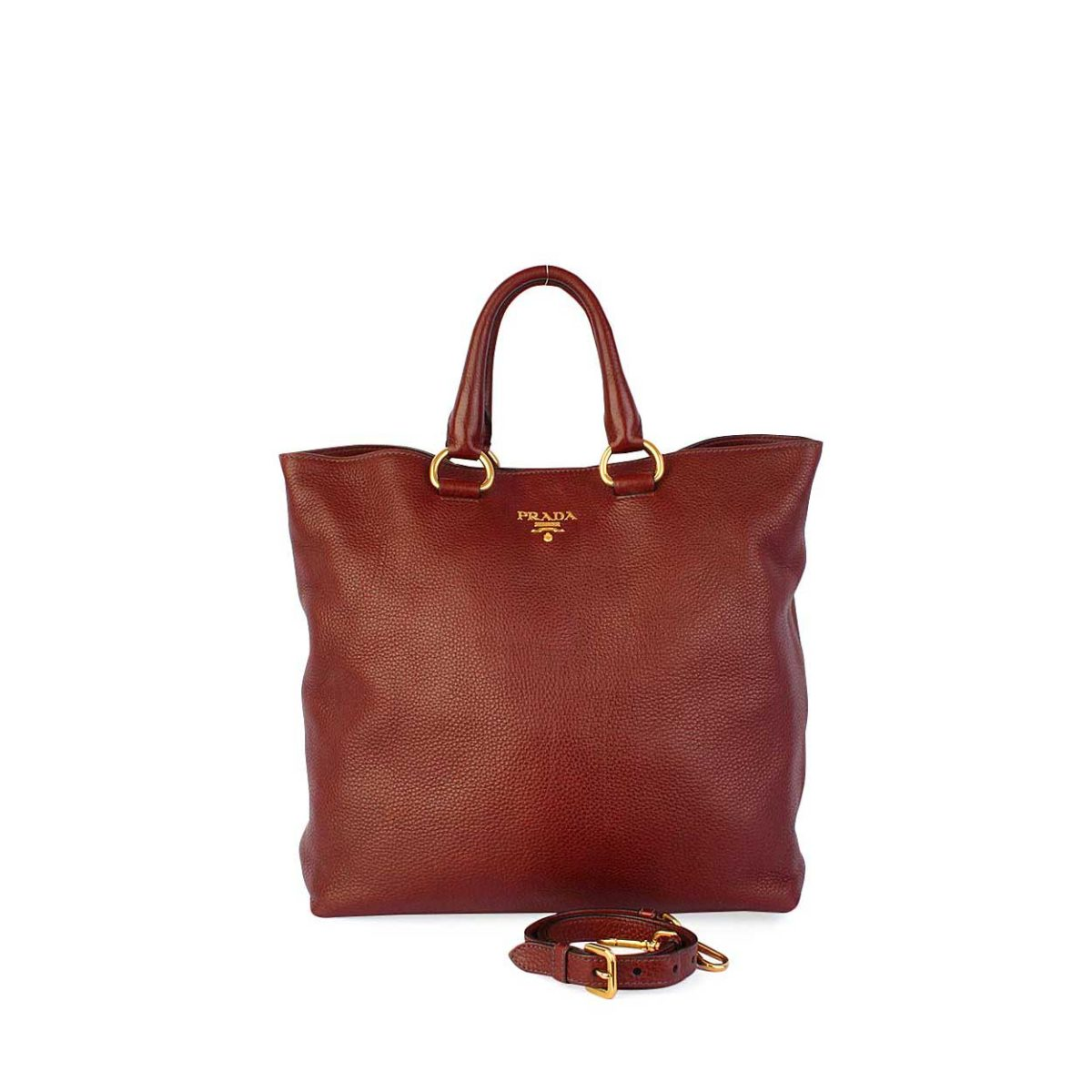 889f640c00b4 PRADA Rubino Vitello Daino Leather Shopping Tote Brown