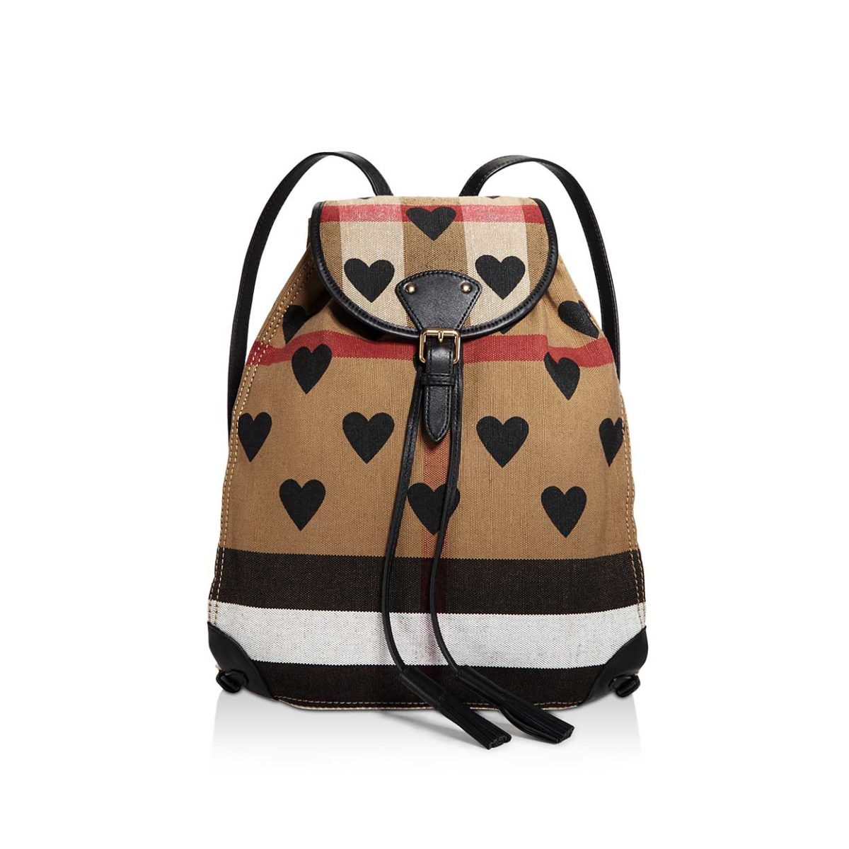 BURBERRY Canvas Check Hearts Medium Chiltern Backpack - NEW  3c874228b9311