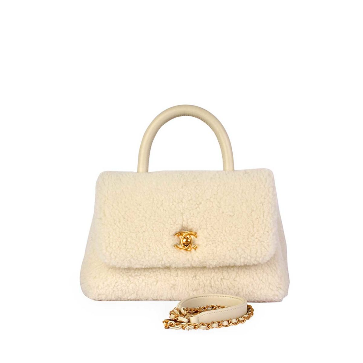 7df2f5e084a8 CHANEL Shearling Sheepskin Coco Handle Bag White - NEW   Luxity