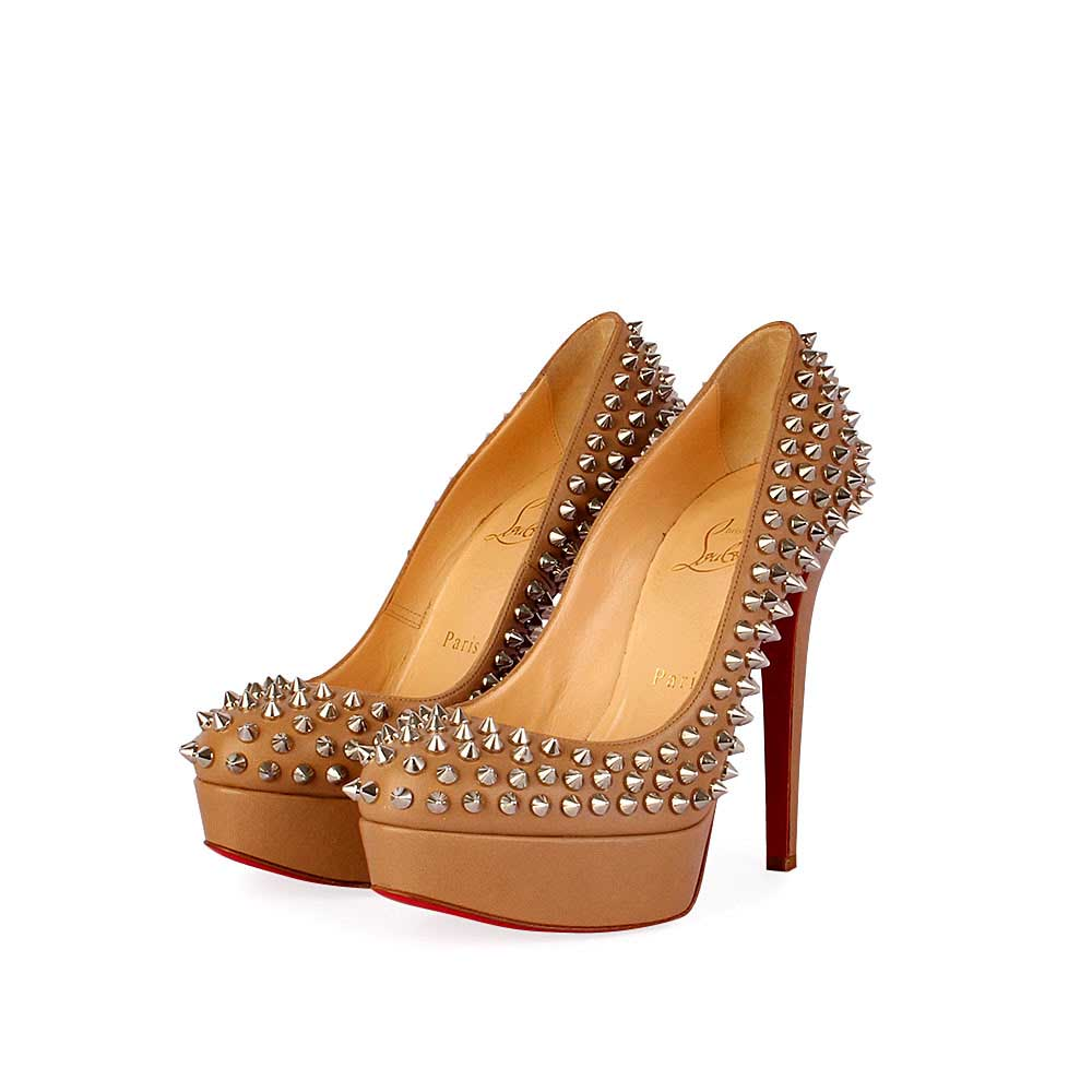 premium selection 430c9 ee2e8 CHRISTIAN LOUBOUTIN Bianca 140mm Spikes Brown-silver-angle ...