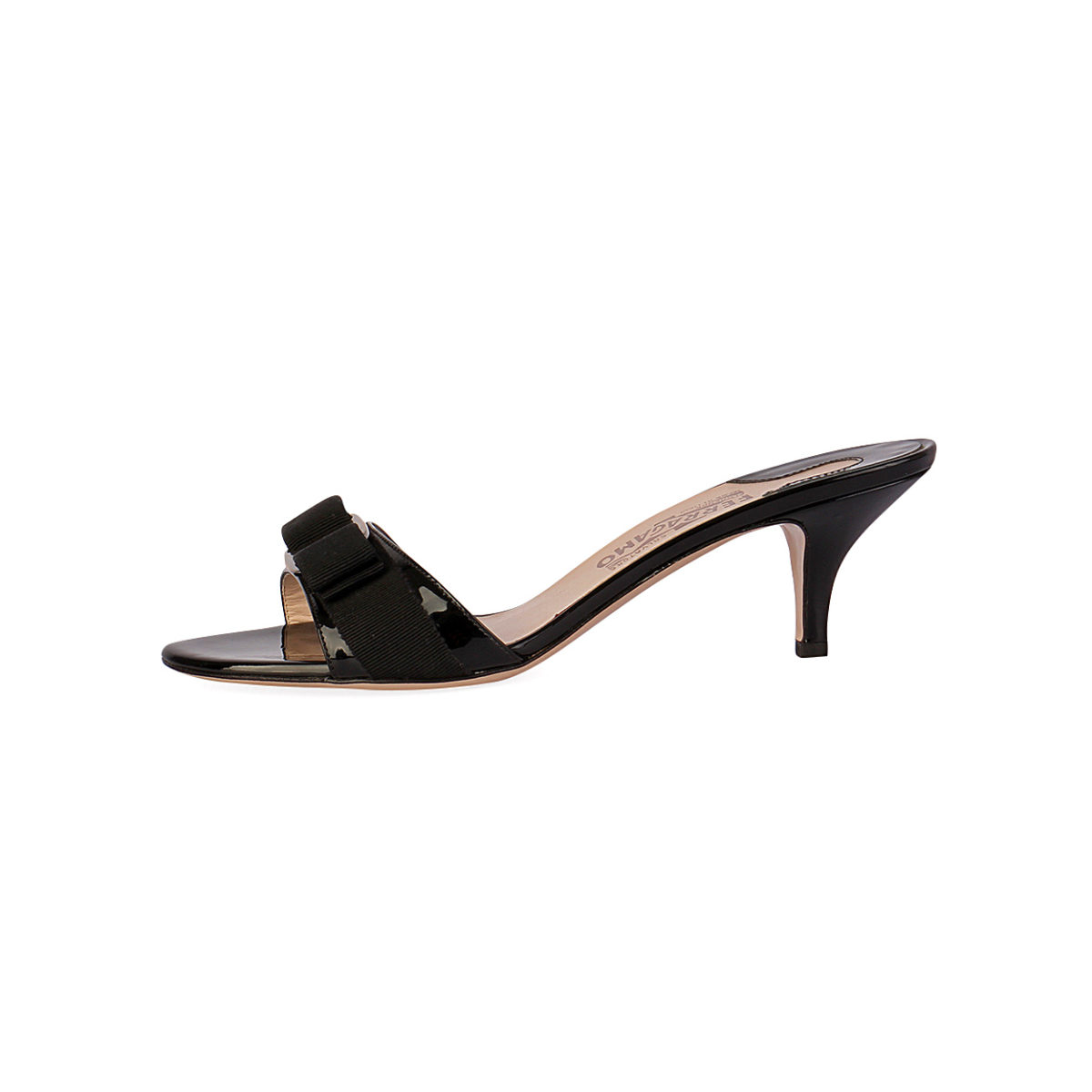 8051bc778 SALVATORE FERRAGAMO Patent Glory Kitten Heel Sandals Black - S  39 ...