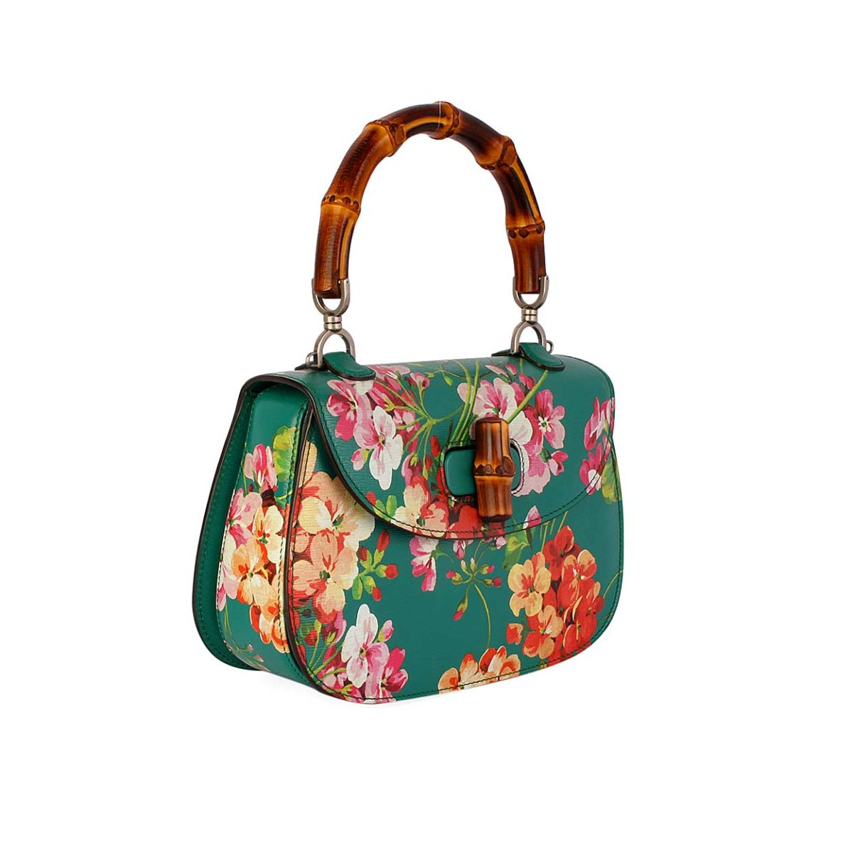 6f39764afe75ec GUCCI Bamboo Leather Classic Blooms Top Handle Bag Emerald Green ...