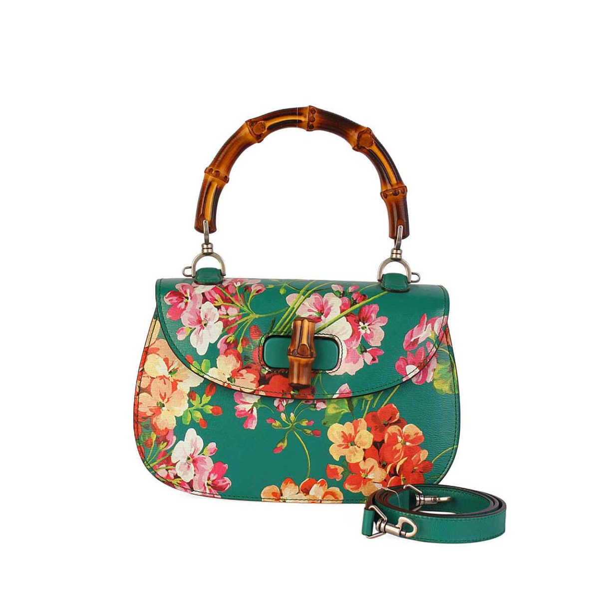 5a55813a47db GUCCI Bamboo Leather Classic Blooms Top Handle Bag Emerald Green ...