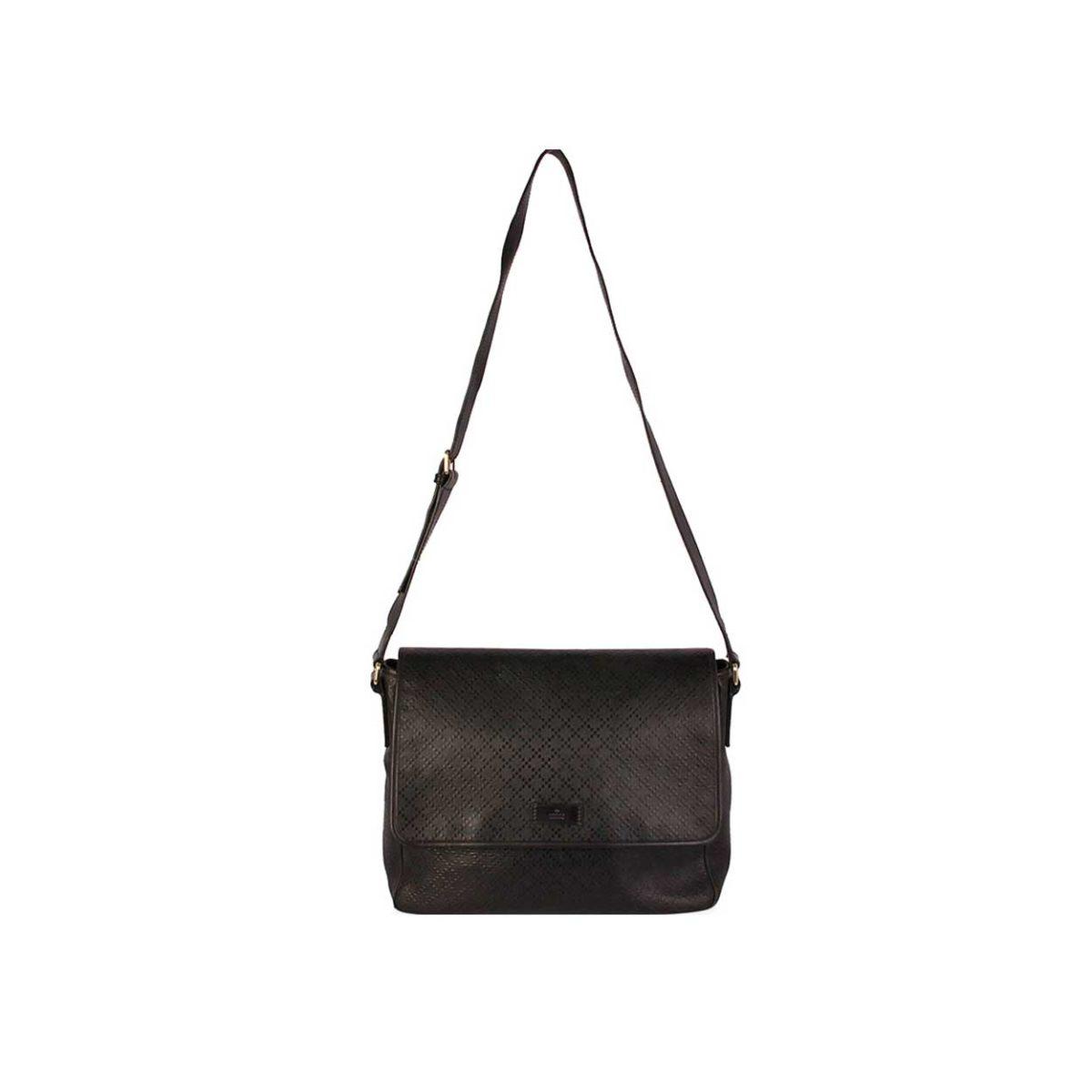 8759e06b277219 GUCCI Diamante Leather Messenger Bag Black | Luxity