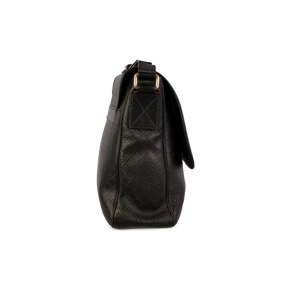 99f778932db4e6 GUCCI Diamante Leather Messenger Bag Black | Luxity