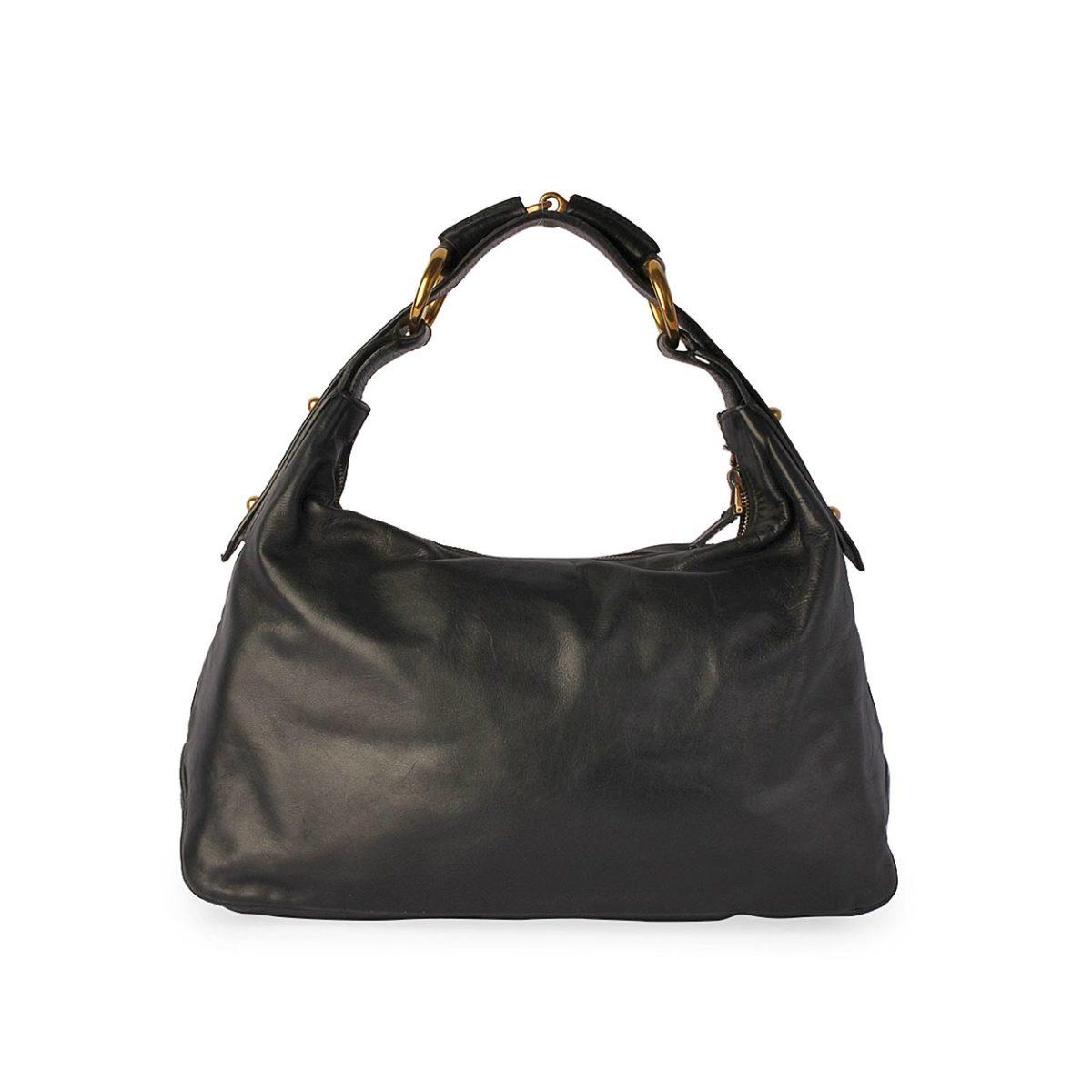 94c396e88646 GUCCI Leather Horsebit Hobo Black