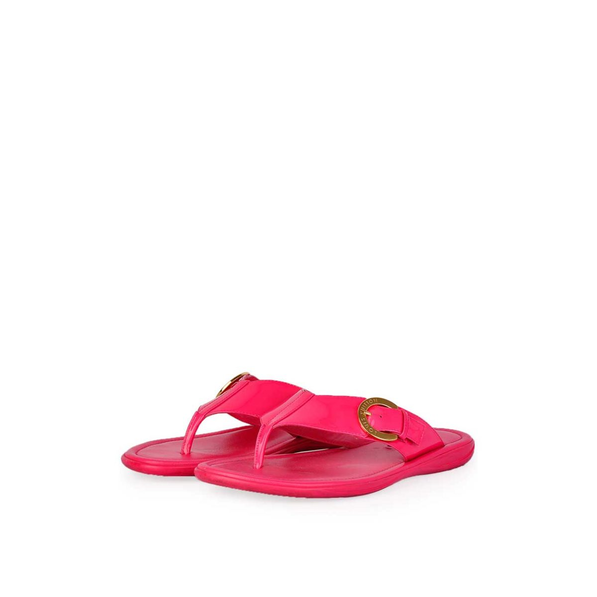 66672817c31d LOUIS VUITTON Hot Pink Patent Leather Thong Slippers - S  37 (4.5 ...