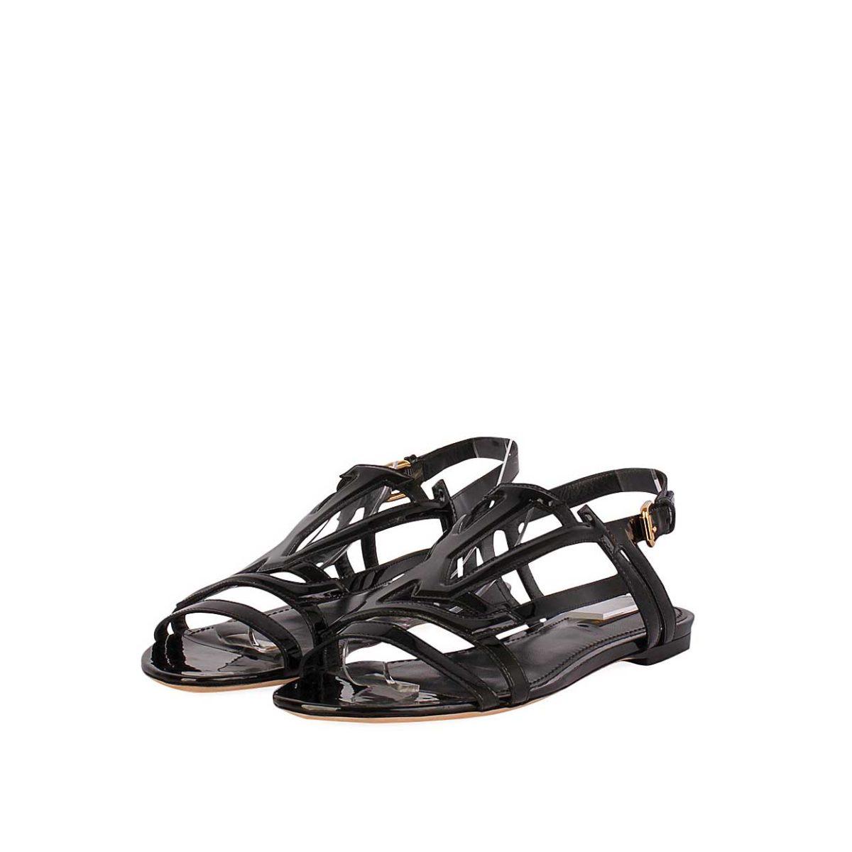 ccf1725a31d6 LOUIS VUITTON Patent Crossing Sandals Black - S  39 (6) – NEW
