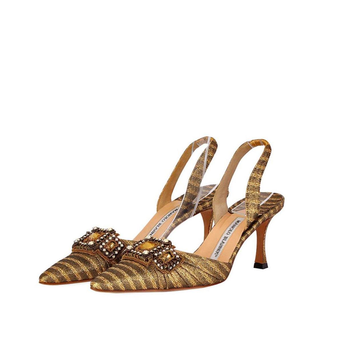 e680ebccf31 MANOLO BLAHNIK Silk Buckle Kitten Heel Carolyne Slingbacks Gold - S ...