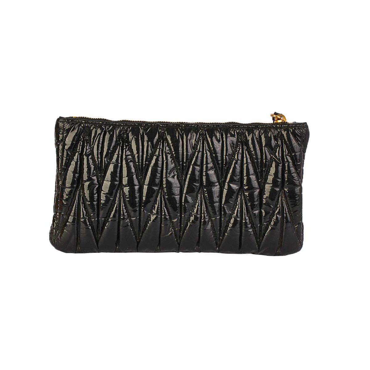 eee4640a93d45 MIU MIU Matelasse Wristlet Clutch Black   Luxity