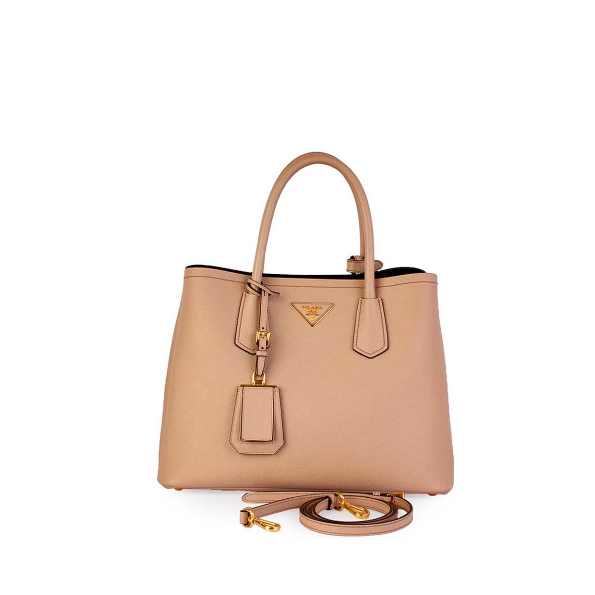 5a99297bb886 PRADA Cammeo Saffiano Leather Double Bag Rose - NEW | Luxity