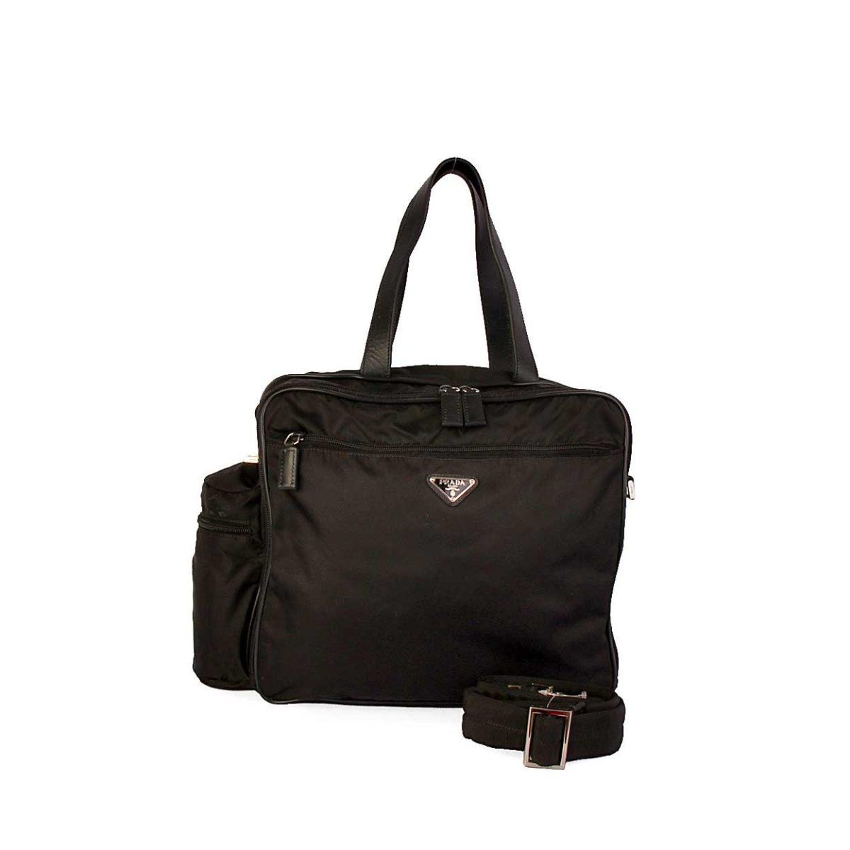 PRADA Tessuto Nylon Diaper or Laptop Bag Black   Luxity 0e99298c03