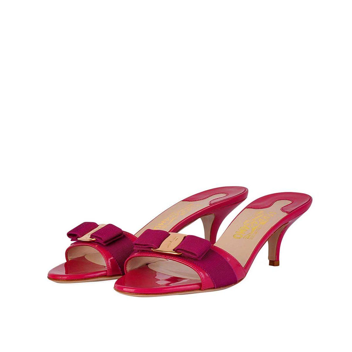 ef4468fb22 SALVATORE FERRAGAMO Anemone Patent Kitten Heel Sandals - S: 39 (6 ...