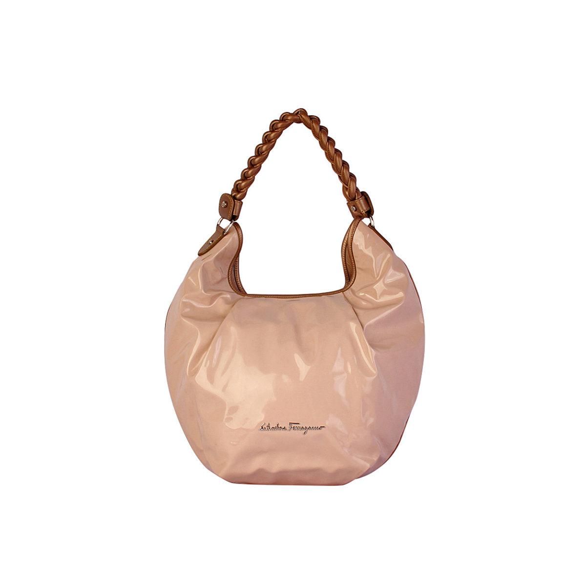 SALVATORE FERRAGAMO Patent Leather Hobo Nude  ebc38420504b7